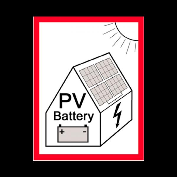 Warnhinweis Photovoltaik-Anlage mit Speicher Aufkleber