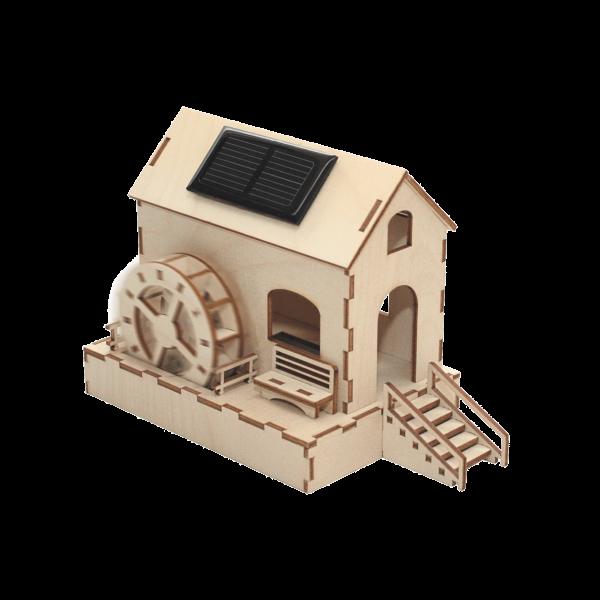 Solar Wassermühle Bausatz aus Holz mit Solarzelle SWM