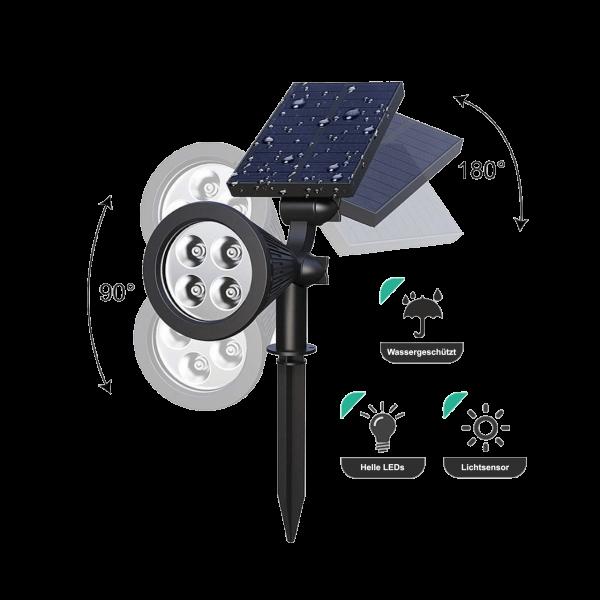 LED Solar Garten Spotlight Wegbeleuchtung mit Erdspieß