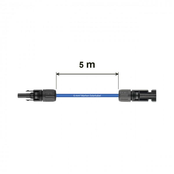 Verlängerung 5 m - 6 mm² blau Solarkabel MC4 auf MC4