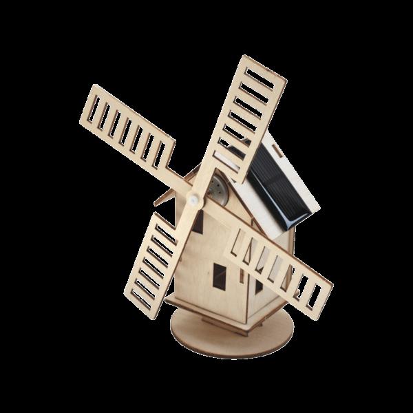 "Solar Windmühle ""Holland"" Bausatz aus Holz mit Solarzelle"