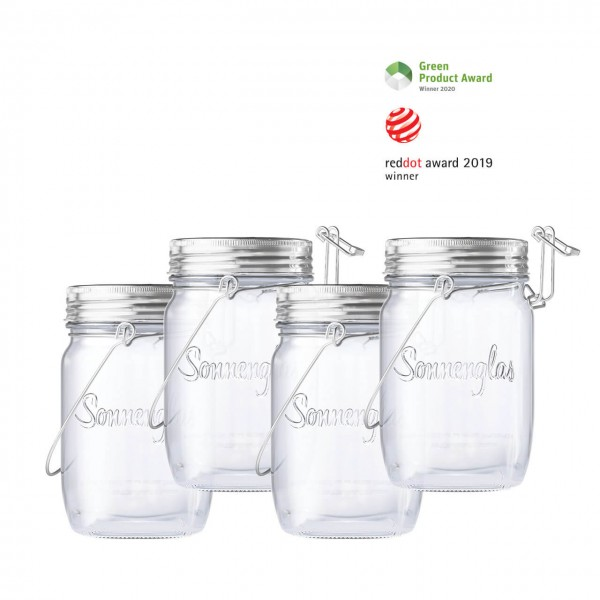 SONNENGLAS® 4er BOX Mini 250 ml - Das Original, LED Solarleuchte im Einmachglas