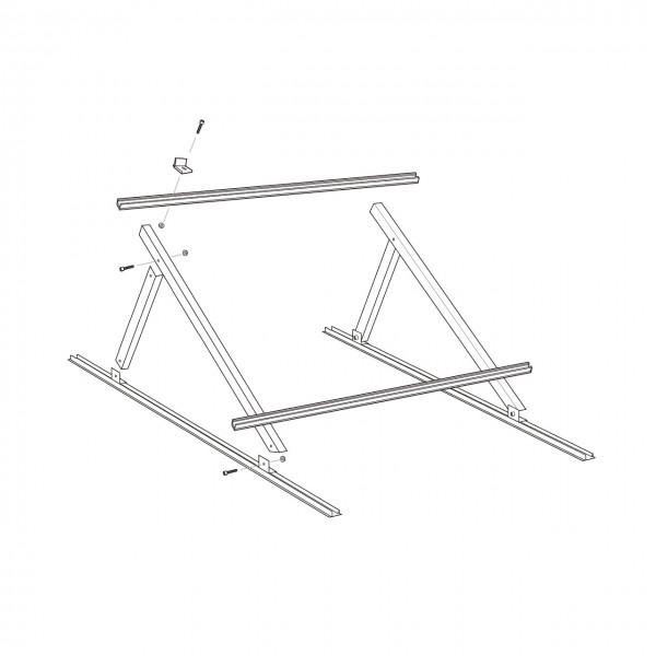 K2 MultiAngle Aufständerung mit 15° Neigung, Set für 2 Module