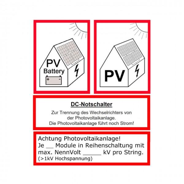 Warnhinweis Photovoltaik-Anlage Aufkleber 4er Komplettset