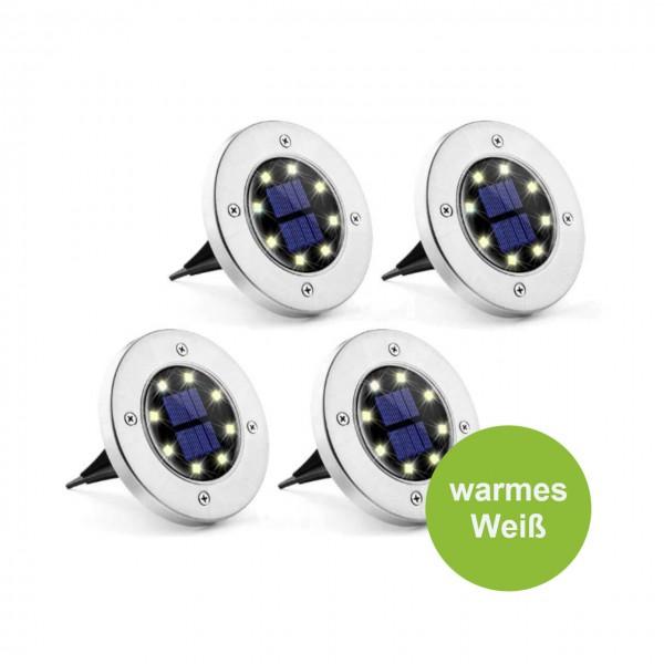 Gartenstecker 4er Set LED warm weiß wasserdichte Bodenleuchte Solar