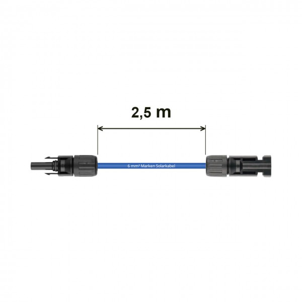 Verlängerung 2,5 m - 6 mm² blau Solarkabel MC4 auf MC4