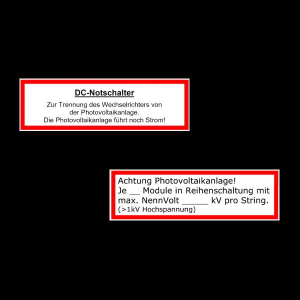 Warnhinweis Photovoltaik Strings und DC-Notschalter Aufkleber 2er Komplettset