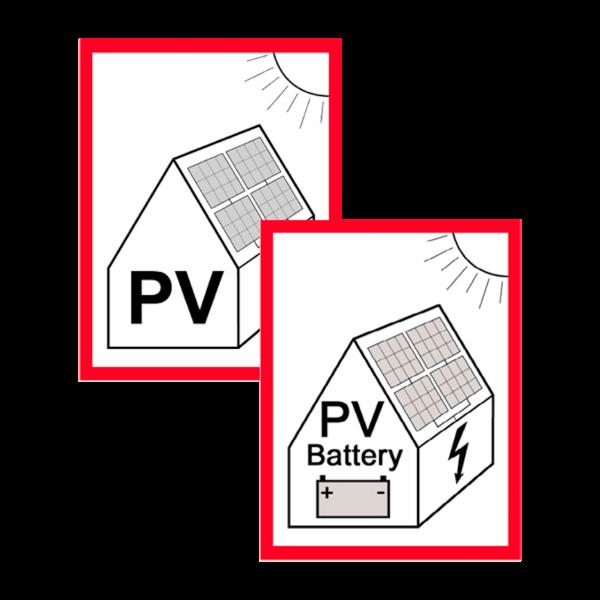 Warnhinweis Photovoltaik-Anlage Aufkleber 2er Komplettset