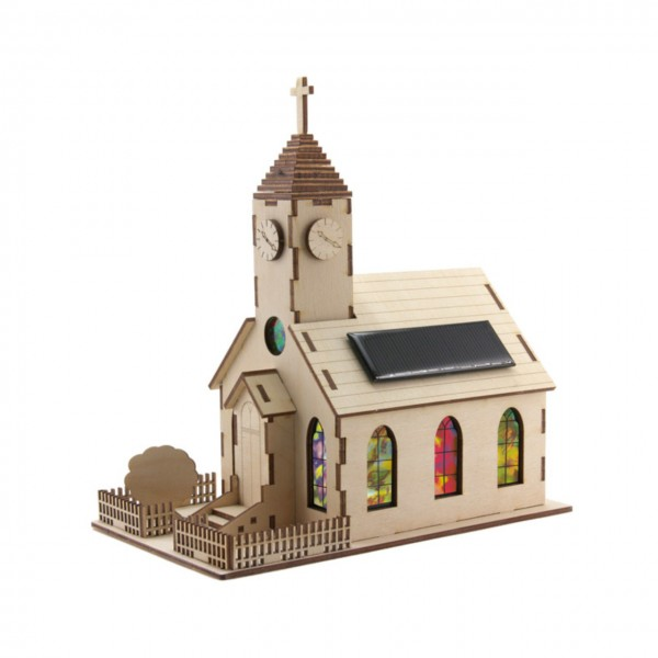 "Holzbausatz Solar Kirche ""Harmony"" mit Solarpanel und LED Beleuchtung"