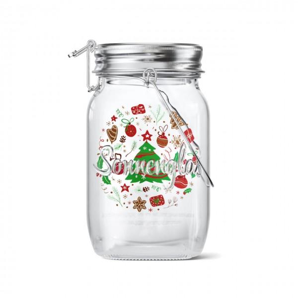 SONNENGLAS® Classic Weihnachts-Edition 1000 ml - Das Original, LED Solarleuchte im Einmachglas