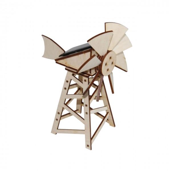 Solar-Windmühle im amerikanischen Stil als Holzbausatz