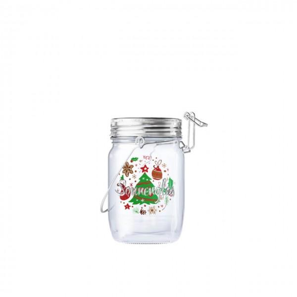 SONNENGLAS® Mini Weihnachts-Edition 250 ml - Das Original, LED Solarleuchte im Einmachglas