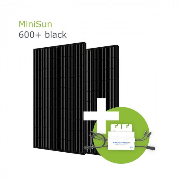 MiniSun600+ black - Mini Solaranlage für Balkon, Dach und Garten GE305B